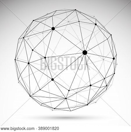 Dimensional Lattice Mesh Vector Abstraction, 3D Polygonal Design Abstract Sphere Isolated Over White