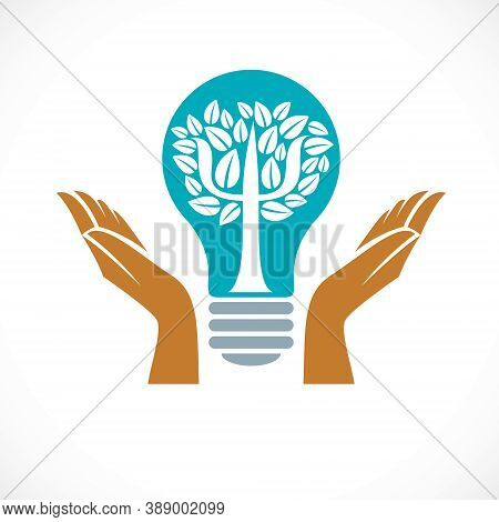 Psychology Concept Vector Logo Or Icon Created With Greek Psi Symbol As A Tree With Leaves Inside Of