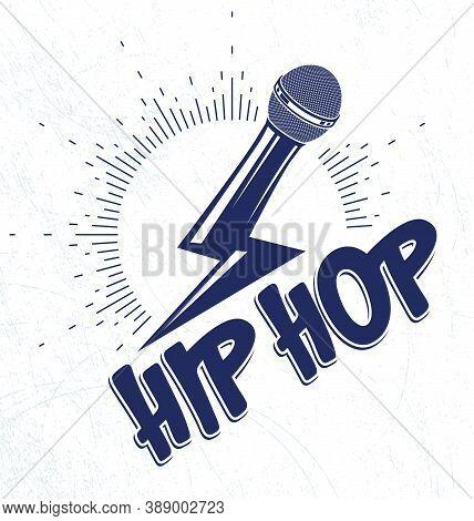 Rap Music Vector Logo Or Emblem With Microphone In A Shape Of Lightning Bolt, Hip Hop Rhymes Festiva
