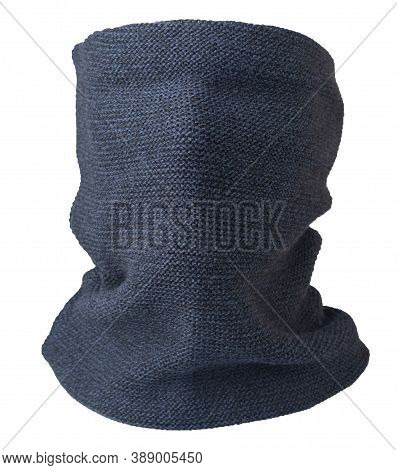 Dark Blue Black Scarf Wind Mask Isolated On White Background. Wool Scarf .face Scarf