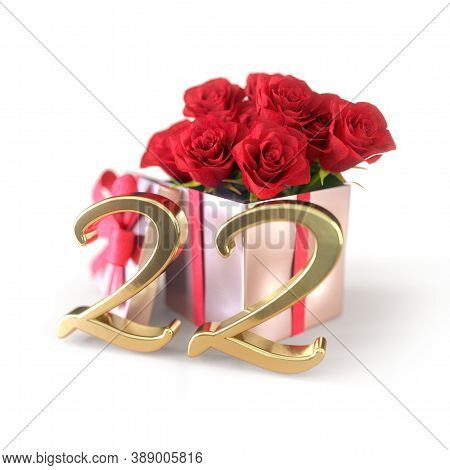 Birthday Concept With Red Roses In Gift Isolated On White Background. Twenty-second. 22nd. 3d Render