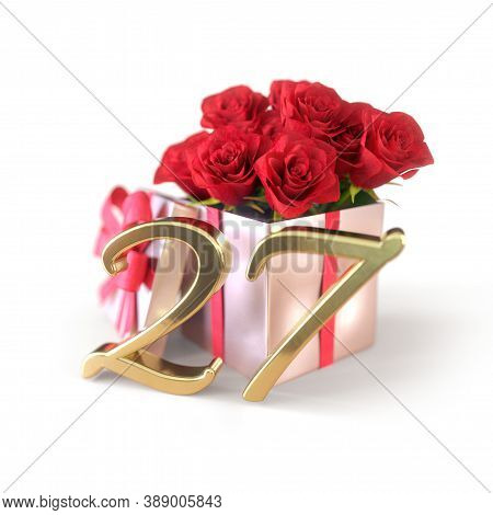 Birthday Concept With Red Roses In Gift Isolated On White Background. Twenty-seventh. 27th. 3d Rende