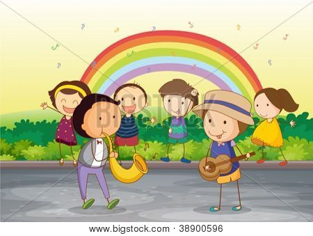 illustrion of kids playing music in beautiful nature