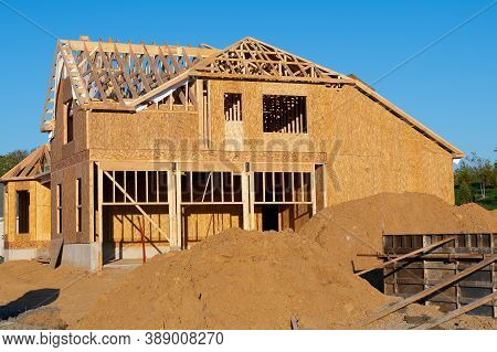 A New Home Under Construction Wall Wood Building