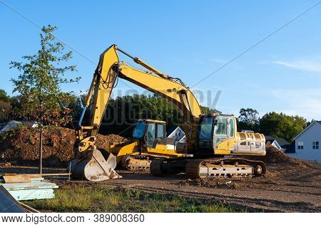 Close Up Details Of Industrial Excavator Working On Construction Site Sky Ihdustry