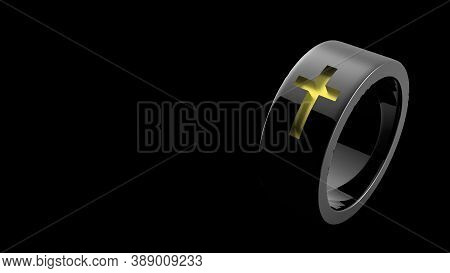 Simple Classic Light Silver Ring Jewel With A Gold Yellow Cross. With White Light Background. Christ