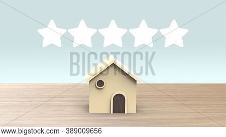 5 Five Stars Wooden 3d Home Dormitory Motel B&b Shape With Many Stars Mark Review, On Wood Table And