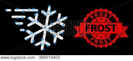 Glowing Mesh Polygonal Frost Wind With Light Spots, And Frost Grunge Ribbon Seal Imitation. Red Seal