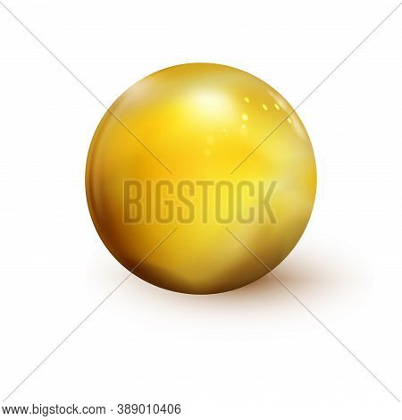 Glossy Golden Sphere, Polished Ball Isolated On White Background. Orb Icon 3d Gold Color. Realistic