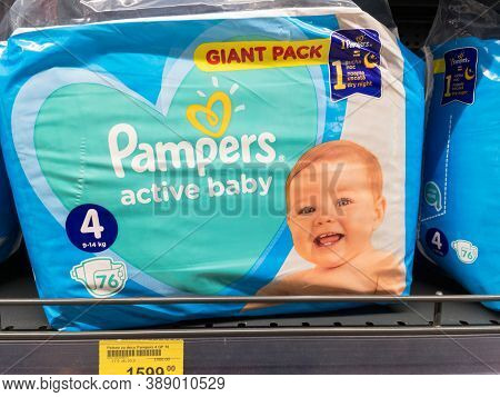 Belgrade, Serbia - September 19, 2020: Pampers Logo On One Of Their Diaper Bags. Pampers Is A Brand