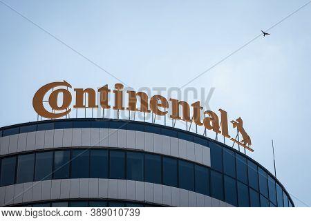 Novi Sad, Serbia - August 9, 2020: Continental Logo On Their Main Office For Novi Sad. Continental I