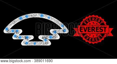 Glowing Mesh Polygonal Ice Hill With Glowing Spots, And Everest Rubber Ribbon Watermark. Red Stamp S