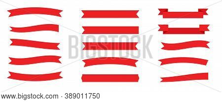 Flat Red Ribbons Set. Retro Flag, Blank Tape For Text, Price Tag, Sale Label. Empty Different Shape