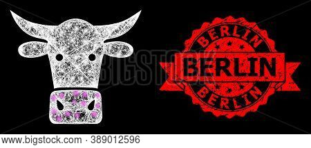 Shiny Mesh Polygonal Cow Head With Light Spots, And Berlin Textured Ribbon Watermark. Red Seal Inclu