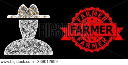 Shiny Mesh Polygonal Peasant Persona With Light Spots, And Farmer Dirty Ribbon Stamp Seal. Red Stamp