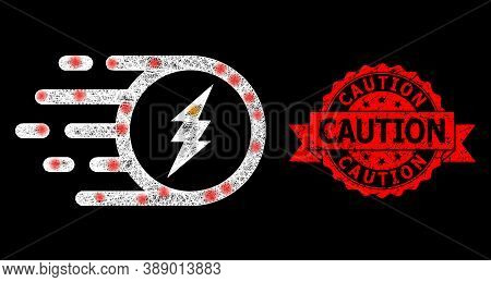 Bright Mesh Polygonal Electric Charge With Lightspots, And Caution Scratched Ribbon Stamp. Red Stamp