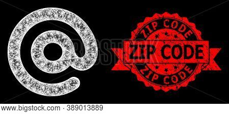Bright Mesh Polygonal Email Symbol With Light Spots, And Zip Code Grunge Ribbon Seal. Red Stamp Seal