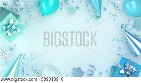 Winter Background, Happy New Year Decoration With Blue Balloon, Snowflakes, Gift Box, Party Hat, Con