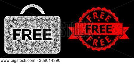 Bright Mesh Web Free Case With Lightspots, And Free Textured Ribbon Stamp Seal. Red Seal Includes Fr
