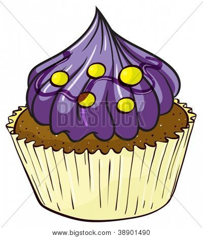 Illustration of an isolated a cupcake on a white background