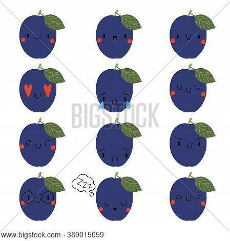 Set Kawaii Cartoon Plum. Vector Illustration Eps. Social Media Comment Reactions, Smile, Sad, Love,