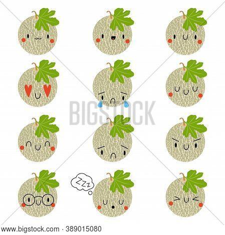Set Kawaii Cartoon Melon. Vector Illustration Eps. Social Media Comment Reactions, Smile, Sad, Love,