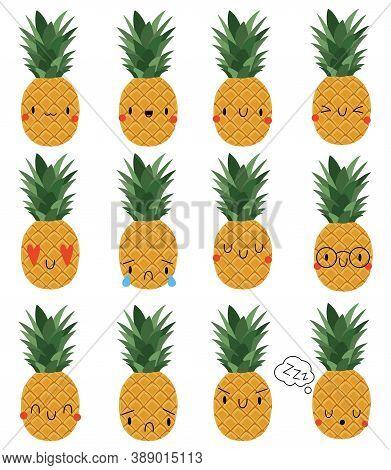 Set Kawaii Cartoon Pineapple. Vector Illustration Eps. Social Media Comment Reactions, Smile, Sad, L