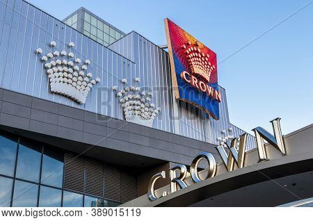 Melbourne, Australia - May 17, 2019: Close View Of The Modern Grand Entrance To The Crown Melbourne