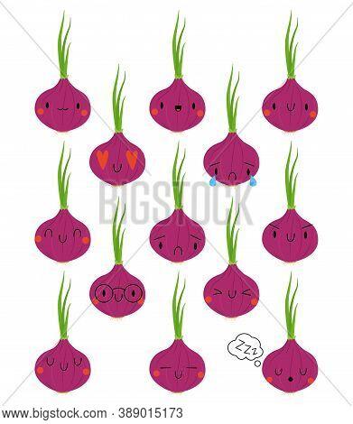 Set Kawaii Cartoon Onion. Vector Illustration Eps. Social Media Comment Reactions, Smile, Sad, Love,