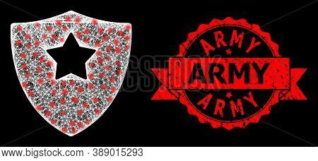 Glare Mesh Polygonal Guard Shield With Light Spots, And Army Dirty Ribbon Seal Imitation. Red Seal H