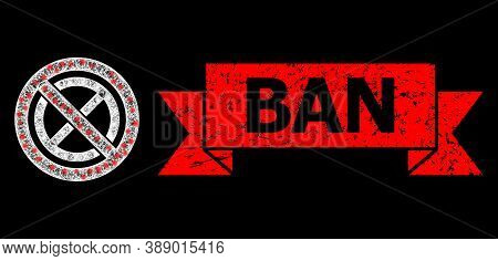 Glare Mesh Polygonal Forbidden Ban With Lightspots, And Ban Textured Ribbon Stamp. Red Stamp Contain