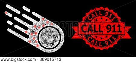 Glowing Mesh Web Falling Meteorite With Glowing Spots, And Call 911 Rubber Ribbon Stamp Seal. Red St
