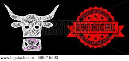 Shiny Mesh Polygonal Livestock Head With Lightspots, And Lao Peoples Democratic Republic Scratched R
