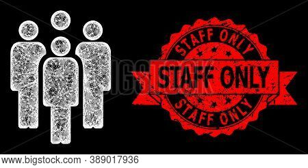 Bright Mesh Net Staff With Lightspots, And Staff Only Rubber Ribbon Stamp Seal. Red Stamp Seal Conta