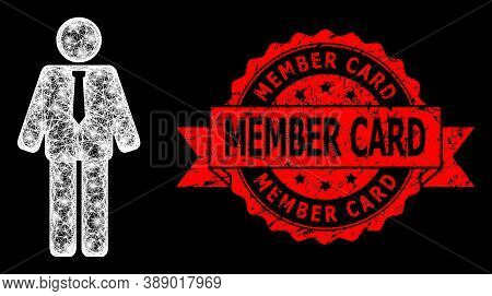 Glowing Mesh Polygonal Groom With Glowing Spots, And Member Card Dirty Ribbon Seal Print. Red Stamp