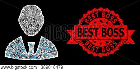 Glowing Mesh Network Boss With Glowing Spots, And Best Boss Unclean Ribbon Seal Imitation. Red Stamp