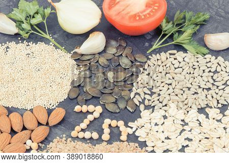 Nutritious Eating Containing Zinc. Healthy Nutrition As Source Vitamins, Minerals And Fiber