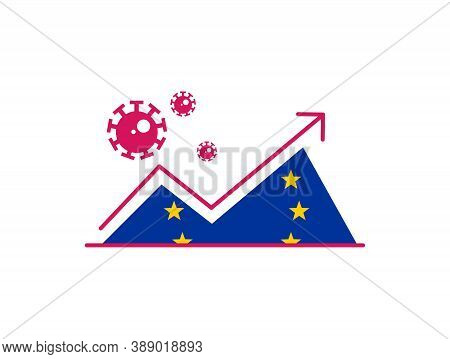 Corona Virus Cases Surges On European Union Countries Concept. With Arrow And Graph Indicating Upwar