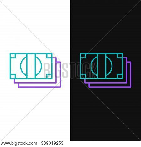 Line Stacks Paper Money Cash Icon Isolated On White And Black Background. Money Banknotes Stacks. Bi
