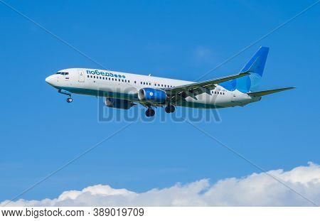 Saint Petersburg, Russia - August 08, 2020: Boeing 737-800 (vp-bpj) Of Pobeda Airlines On The Glide