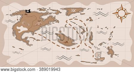 Pirate Treasure Map In Cartoon Style, Children Llustration