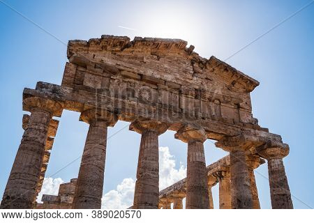 Ancient Greek Temple Of Athena In Paestum , Italy Formerly Known As Temple Of Ceres Architrave, Frie