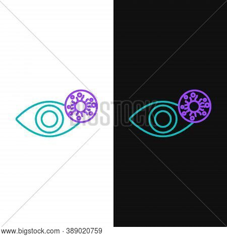 Line Reddish Eye Due To Virus, Bacterial Or Allergic Conjunctivitis Icon Isolated On White And Black
