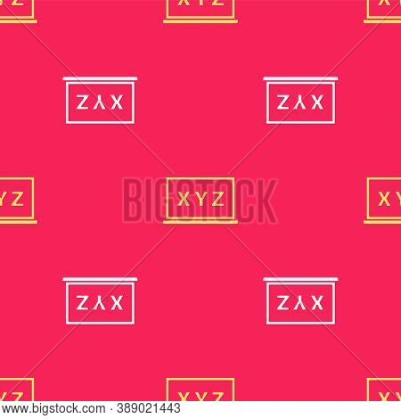 Yellow Xyz Coordinate System On Chalkboard Icon Isolated Seamless Pattern On Red Background. Xyz Axi