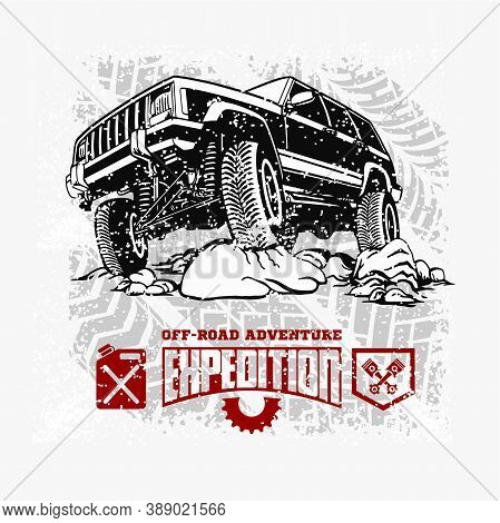 Grand Cherokee - Suv Car On White - Elements For Tshirt And Emblem - Vector Set