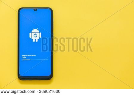 Phuket, Thailand -  July 3, 2020 : Close Up Samsung Galaxy A50 Device In Process Of Android Software