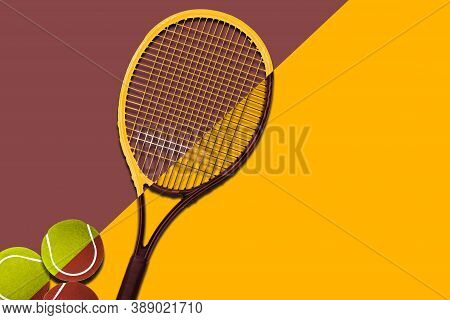 Tennis Balls Under Black Racquet. Violet Background. Concept Sport.