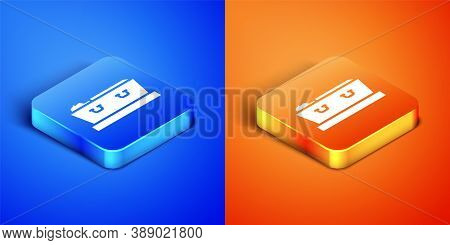 Isometric Open Coffin With Dead Deceased Body Icon Isolated On Blue And Orange Background. Funeral A