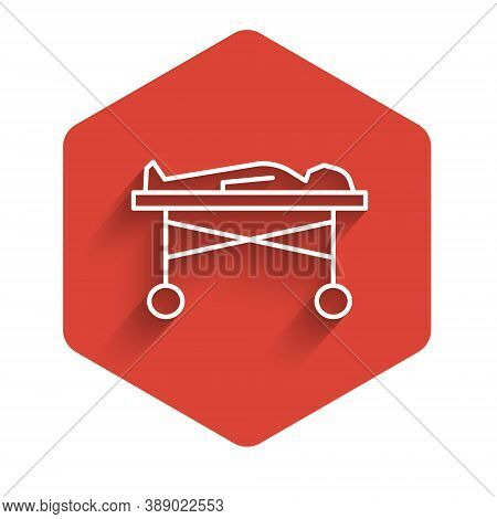 White Line Dead Body In The Morgue Icon Isolated With Long Shadow. Red Hexagon Button. Vector