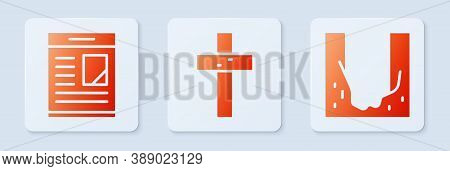 Set Christian Cross, Obituaries And Cemetery Digged Grave Hole. White Square Button. Vector